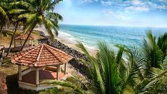Vackra stränder i Kerala, Indien.