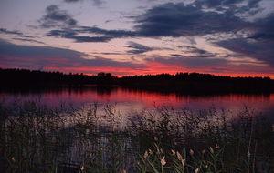 Solnedgång över Autiojärvi