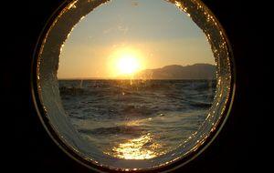 Solnedgång, på Star Flyer, Medelhavet