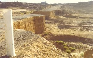 Raserad väg i Sahara