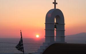 Solnedgång i Mykonos stad