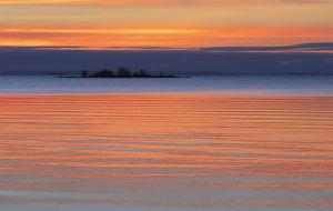 solnedgång över Vänern
