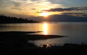 Rånö och solnedgång på söndagskvällen
