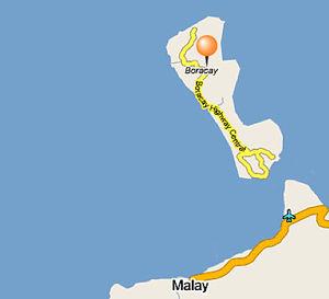 Lilla Boracay är drygt 7 kilometer lång och 2 kilometer bred.