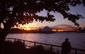 Solnedgång över Sydney från Mrs Maquire's Chair
