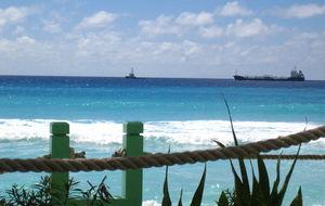 Utsikt över caribiska havet vid Blue Orchide