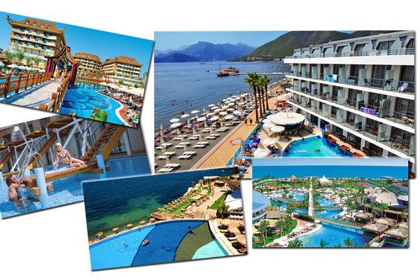 Collage: Div. hotellbilder