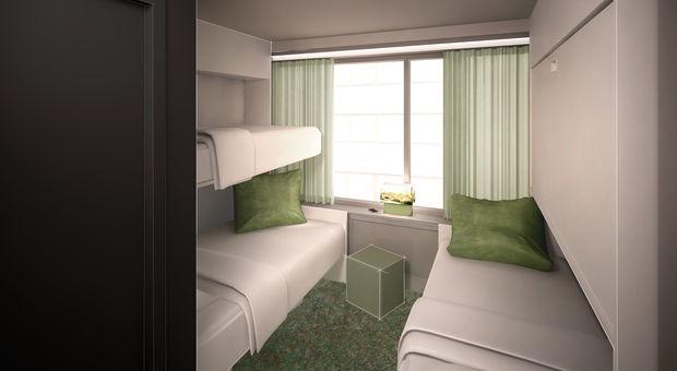 Fyra-bäddsrum med uppfällbara sängar.