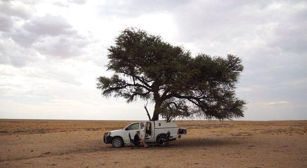 Just nu befinner sig familjen i Namibia